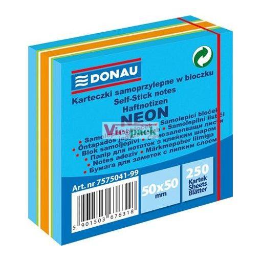 Öntapadó jegyzettömb, 50x50mm, 250 lap, DONAU, neon színek