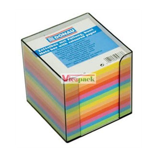 Kockatömb, 89x89x85 mm, adagolóval, DONAU, színes /csom (700 lap)